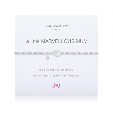 A Little Marvellous Mum Silver and Pearl Heart Bracelet