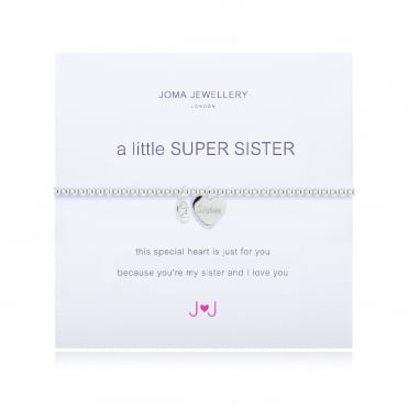 A Little Super Sister Silver Heart Bracelet