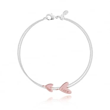 Coralie Double Love Life Silver & Rose Gold Heart Bracelet