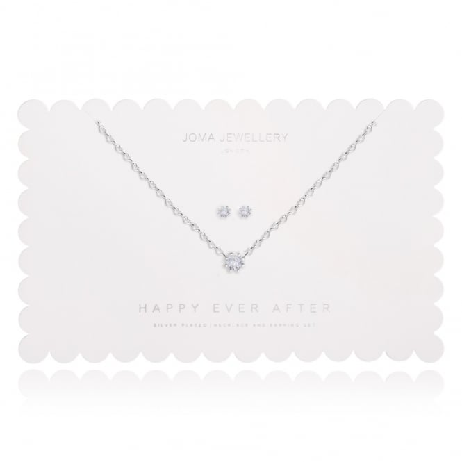 Joma Jewellery Happy Ever After Heart Silver Earrings & Necklace Set