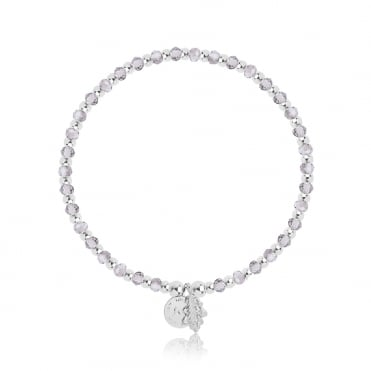 Symbol Belief Silver & Grey Clear Crystal Bracelet