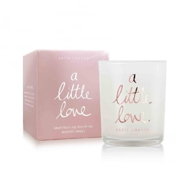 A Little Love Grapefruit & Pink Peony Small Metallic Rose Gold Written Word Candle