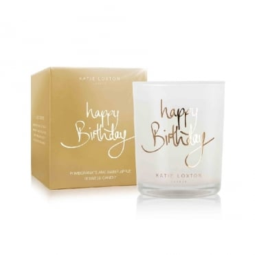 Happy Birthday Pomegranate & Sweet Apple Small Metallic Gold Written Word Candle