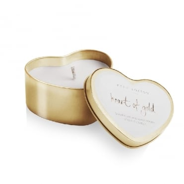 Heart Of Gold Champagne & White Peony Gold Heart Tin Candle
