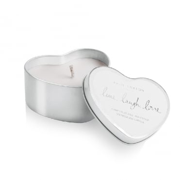 Live Laugh Love Silver Heart Tin Grapefruit & Pink Peony Candle