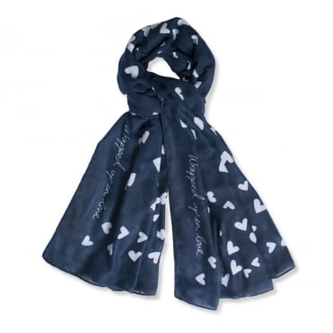 Sentiment Scarf Wrapped Up In Love Navy Blue