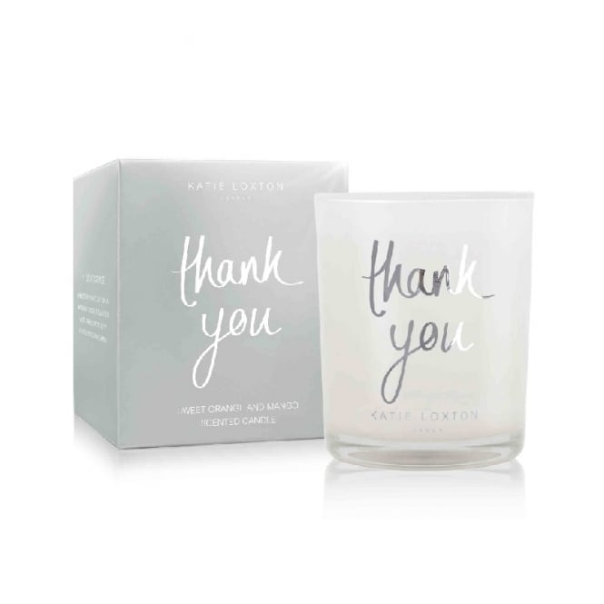 Katie Loxton Thank You Sweet Orange & Mango Small Metallic Silver Written Word Candle