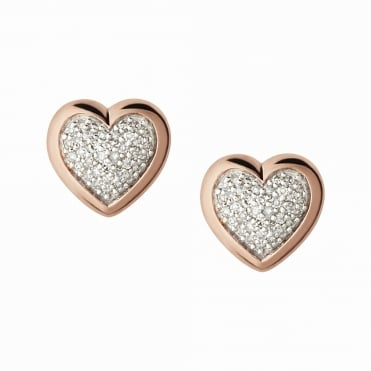 Diamond Essentials Rose Gold & Pave Heart Stud Earrings
