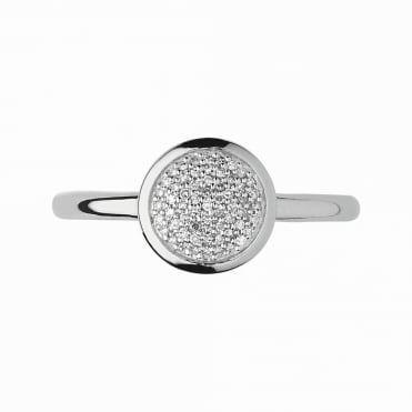 Diamond Essentials Silver & Pave Round Ring P