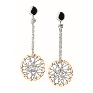Dream Catcher Bi-Metal Drop Earrings
