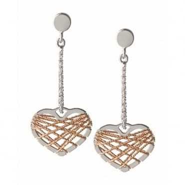 Silver Dream Catcher Bi-Metal Heart Drop Earrings