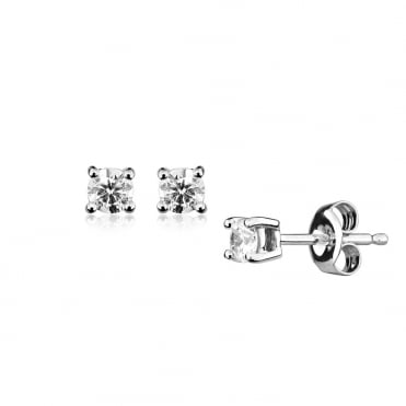 0.15ct Brilliant Diamond Earrings In 9ct White Gold