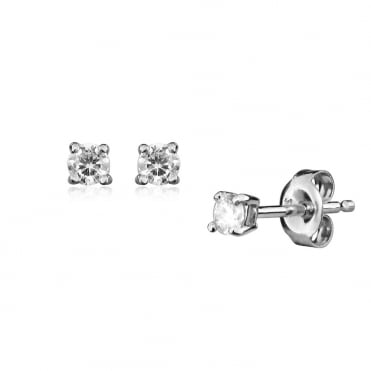 1/10ct Brilliant Cut Diamond Earrings In 9ct White Gold