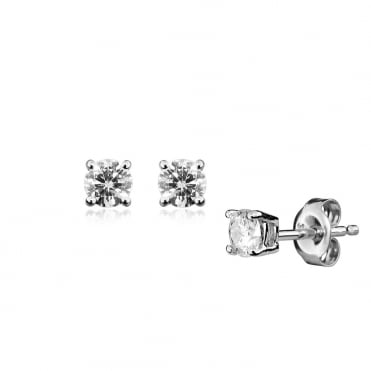 1/5ct Brilliant Cut Diamond Earrings In 9ct White Gold