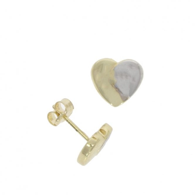 Love 9 Carat White Gold and Yellow Gold Heart Stud Earrings