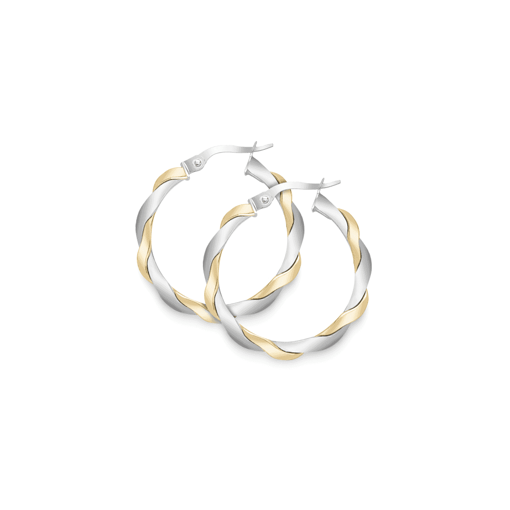 0fc7cc7ef8353 Love 9 Carat White Gold and Yellow Gold Twisted Hoop Earrings