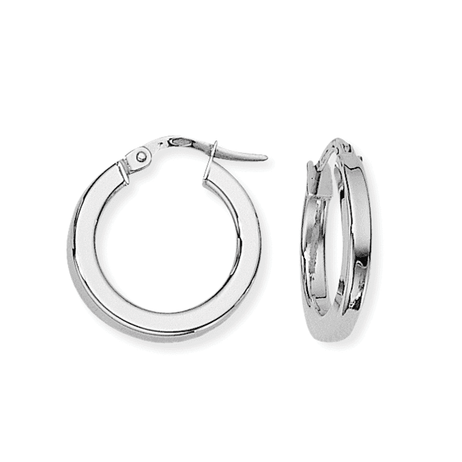 Love 9 Carat White Gold Square Tube Round Hoop Earrings