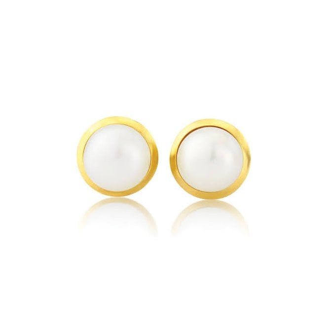 Love 9 Carat Yellow Gold and Freshwater Pearl Stud