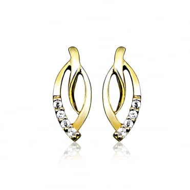 9ct Yellow Gold & Diamond Leaf Earrings