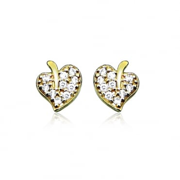 Small Leaf Diamond Pave 9ct Yellow Gold Earrings