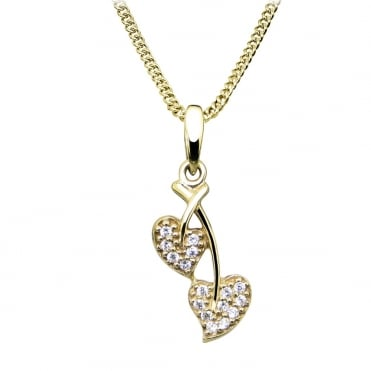 Small Leaf Diamond Pave 9ct Yellow Gold Pendant Necklace