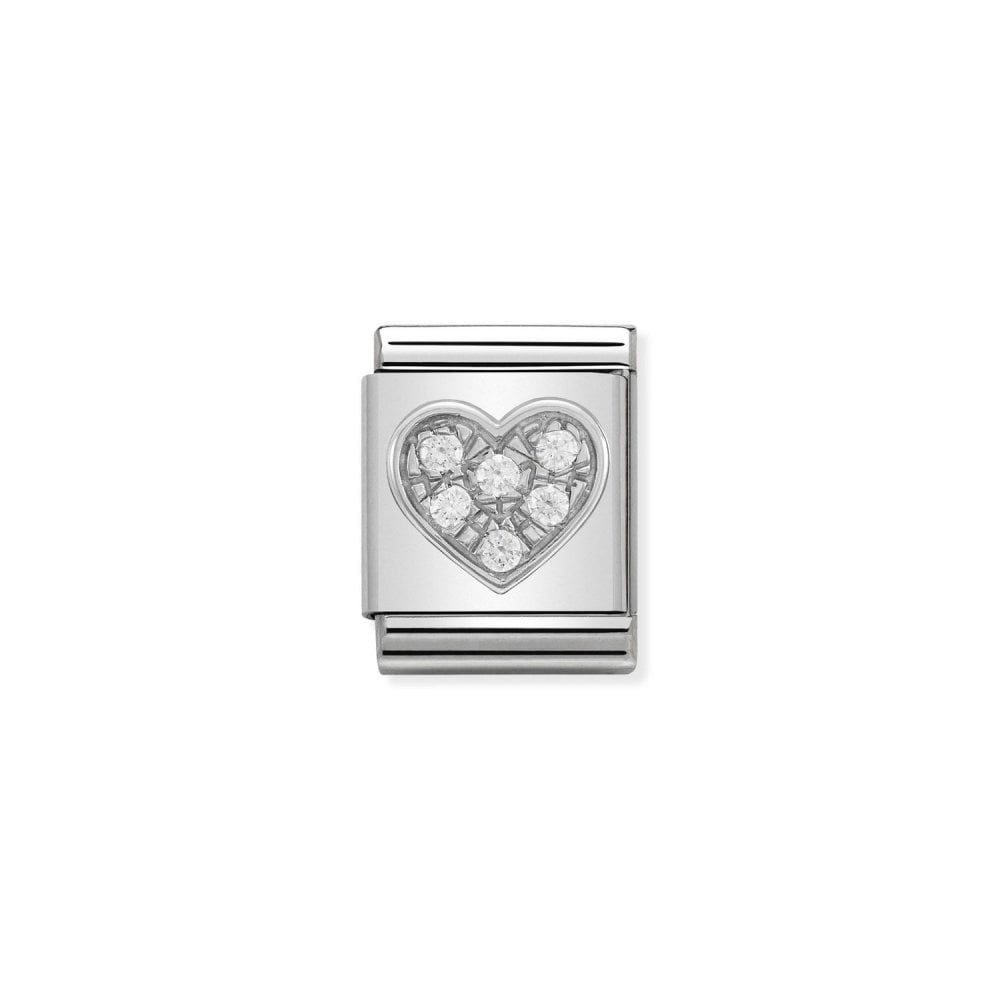 NOMINATION BIG Silvershine CZ Heart Charm b41eb617d668