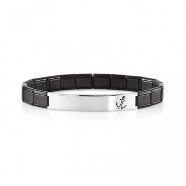 Black Trendsetter Bracelet With Anchor Detail