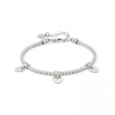 Chic & Charm Heart Bracelet in Silver with CZ
