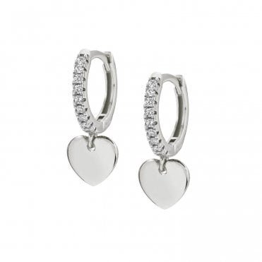 Chic & Charm Heart Huggy Earrings in Silver with CZ