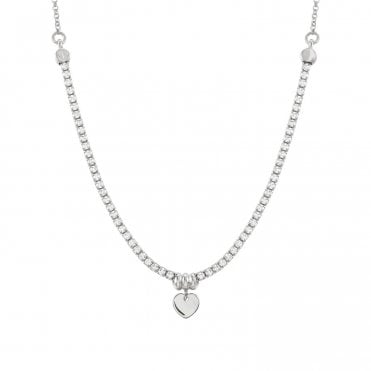 Chic & Charm Heart Necklace in Silver with CZ