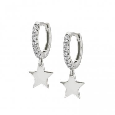 Chic & Charm Star Huggy Earrings in Silver with CZ