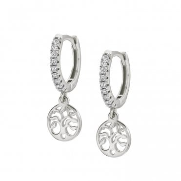 Chic & Charm Tree Of Life Huggy Earrings in Silver with CZ