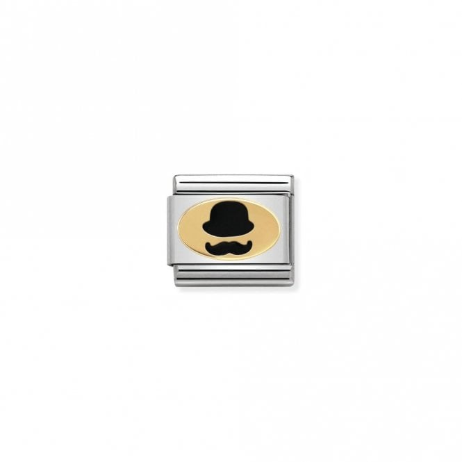 Nomination Classic Gold and Black Monsieur Male Silhouette Charms
