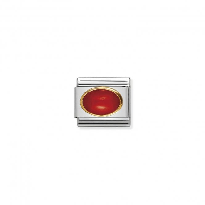 NOMINATION Classic Gold and Red Coral Oval Charms
