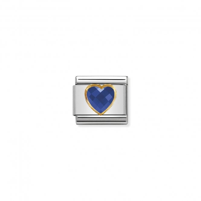 Nomination Classic Gold CZ (Faceted Blue Heart) Love & Hearts Charms