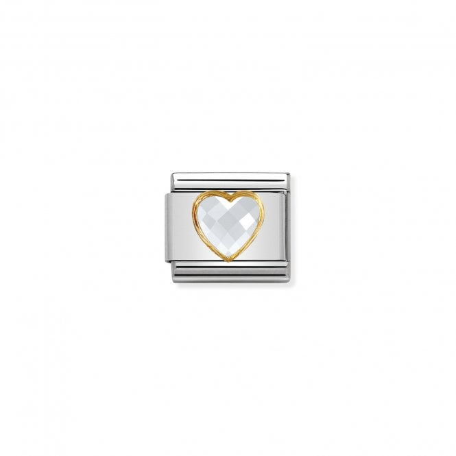 Nomination Classic Gold CZ (Faceted White Heart) Love & Hearts Charms