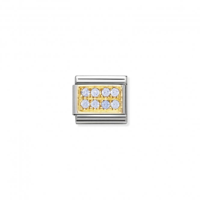 Nomination Classic Gold CZ Pave (Light Blue) Sparkly Charms