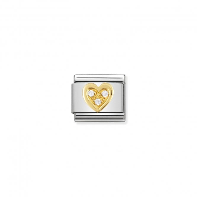 Nomination Classic Gold CZ (White Heart) Love & Hearts Charms