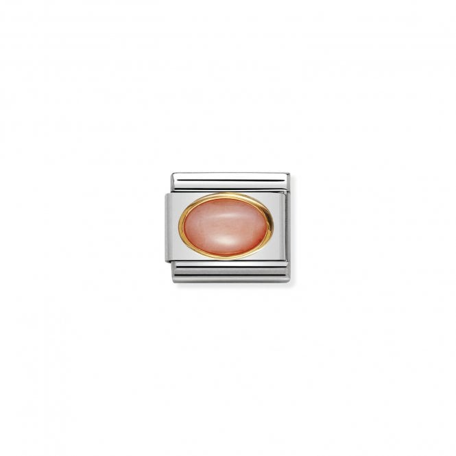 Nomination Classic Gold (Oval Pink Coral Stone) Sparkly Charms