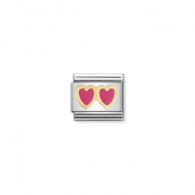 Nomination Classic Gold (Pink Double Heart) Love & Hearts Charms