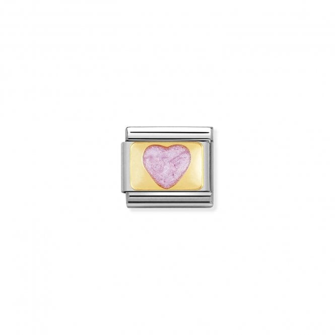 Nomination Classic Gold (Pink Glitter Heart) Friends & Family Charms