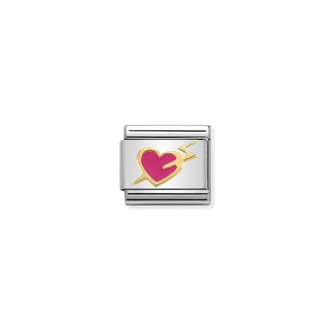 Nomination Classic Gold (Pink Heart with Lightning) Love & Hearts Charms