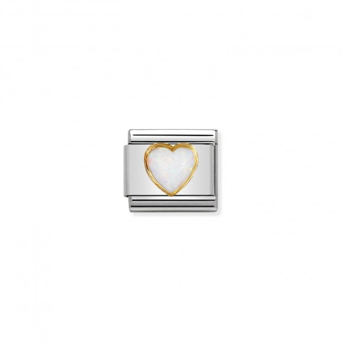 Nomination Classic Gold (White Opal Heart) Love & Hearts Charms