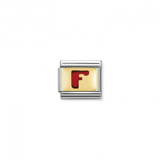 NOMINATION Classic Red Letters Gold and Enamel F Charms