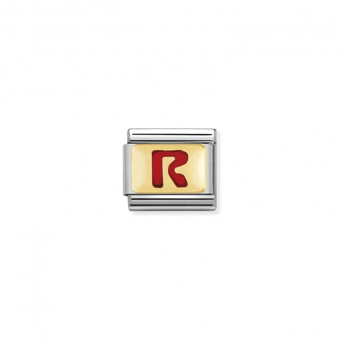 NOMINATION Classic Red Letters Gold and Enamel R Charms