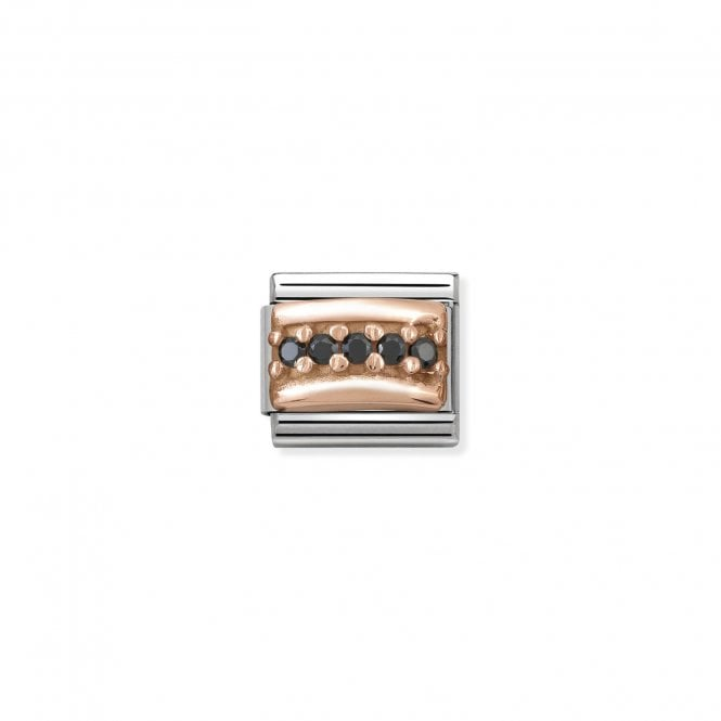 NOMINATION Classic Rose Gold and Black CZ Curved Pave Charms