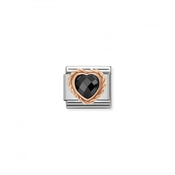NOMINATION Classic Rose Gold and Black CZ Faceted Heart Charms
