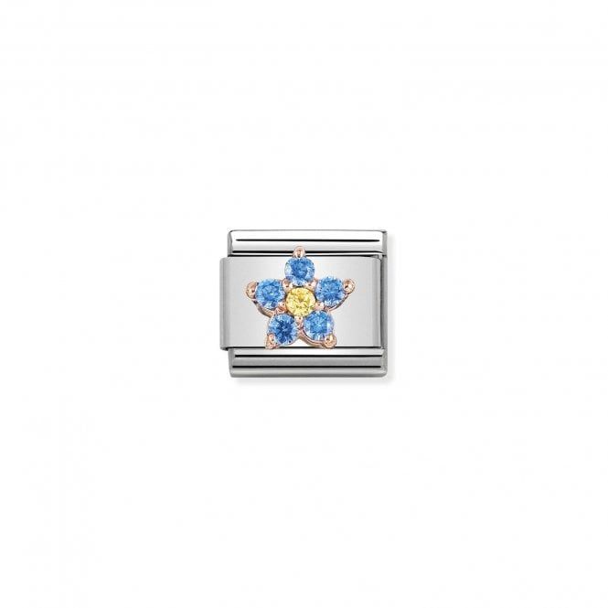NOMINATION Classic Rose Gold and CZ Blue and Yellow Flower Charms