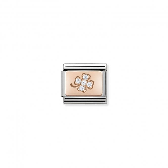 NOMINATION Classic Rose Gold and CZ Four Leaf Clover Charms