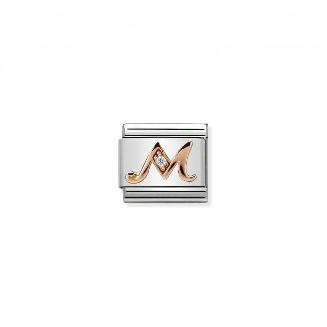 NOMINATION Classic Rose Gold and CZ Letter M Charms
